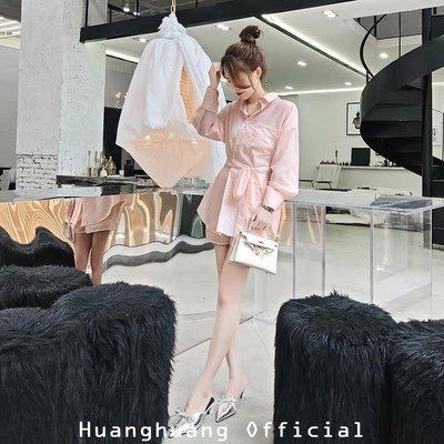 【HH Official】2018新款時尚氣質套裝粉色寬松中長款系帶襯衫闊腿短褲兩件套女秋