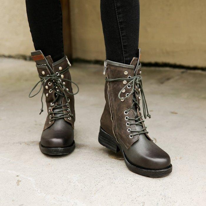 ~皮皮創~原創設計手工馬丁靴。歐美風秋季新款真皮厚底馬丁靴女英倫風粗跟復古鉚釘靴子女短靴真皮機車騎士靴子