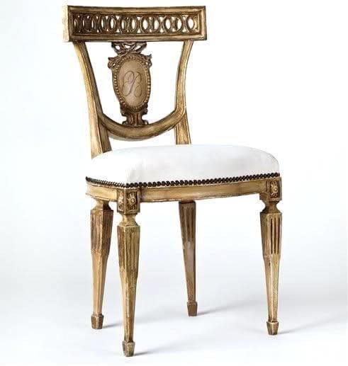法式餐桌藝術 復古古董餐椅 鉑金色