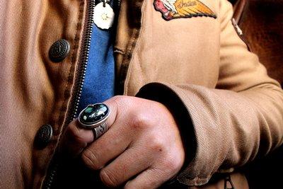 【monolith】生來狂野二店 New Lander天然綠松打印戒指 職人手作 份量厚實 大尺寸綠松