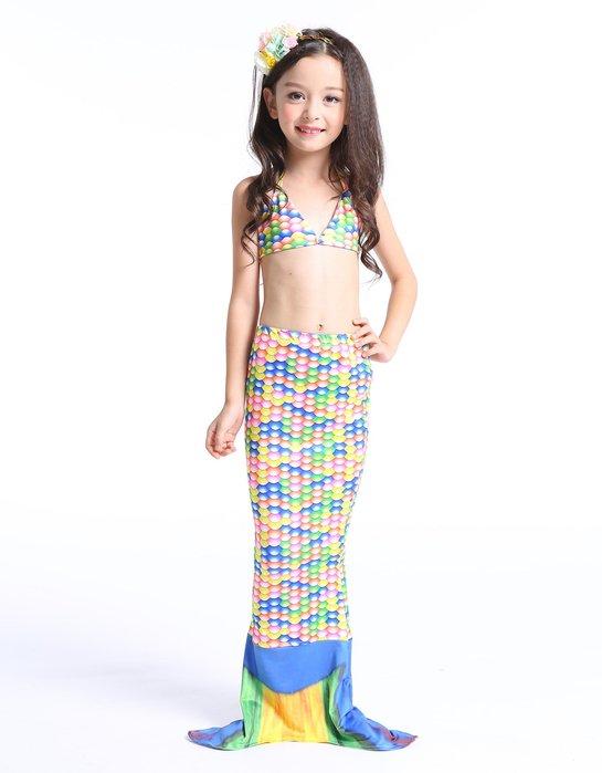 •*~ 辣媽咪衣飾小舖 ~*•❤童裝系列 📣C860840韓版卡通美人鱼尾巴表演泳装(上衣+內褲+魚尾)