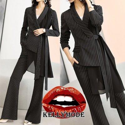♥kellymode♥全新20早秋新款 優雅氣質 條紋線條 不規則雪紡拼接 綁帶 翻領 長袖 西裝外套 +直筒褲 套裝