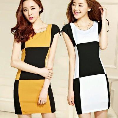 洋裝  #F-068 大塊色階拼接連身款