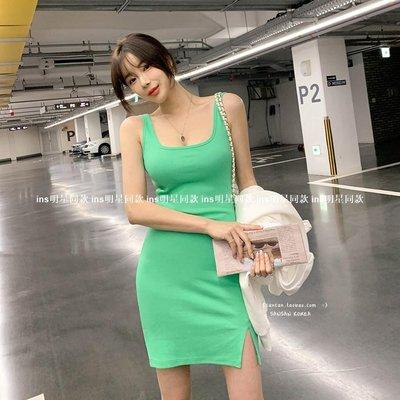 ins明星同款女裝SANSAN韓新款國官網代購 slay新全場~亮色系彈力背心裙開衩連身裙 2色OP60