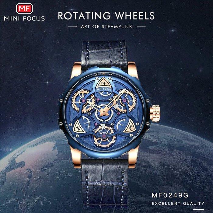 MINI FOCUS 原廠正品 創意視覺可旋轉齒輪構造大錶面設計 時尚商務型男石英男腕錶【S & C】