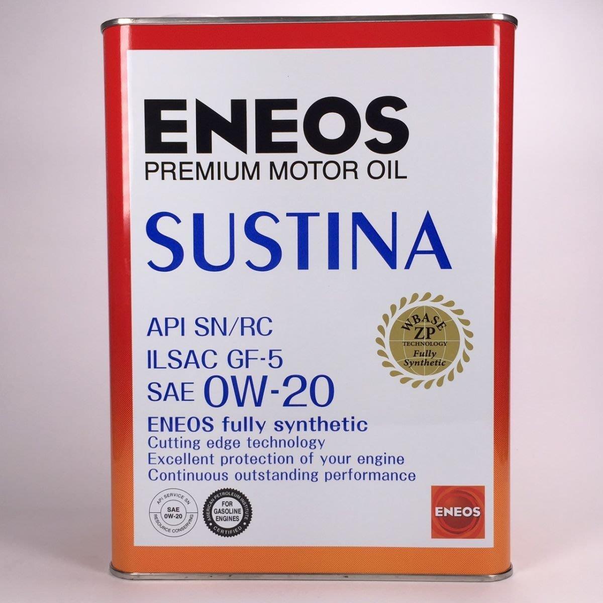 [機油倉庫]附發票ENEOS SUSTINA 0W-20 0W20全合成機油 4公升 新日本 日本原裝
