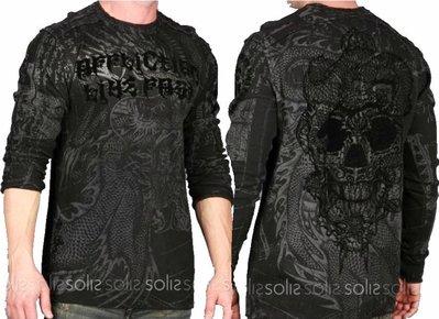 Affliction 長袖 T 恤 雙面穿 設計 龍紋身骷顱刺青 保暖重機暗黑搖滾 黑灰色 S XS【 以靡專櫃正品】