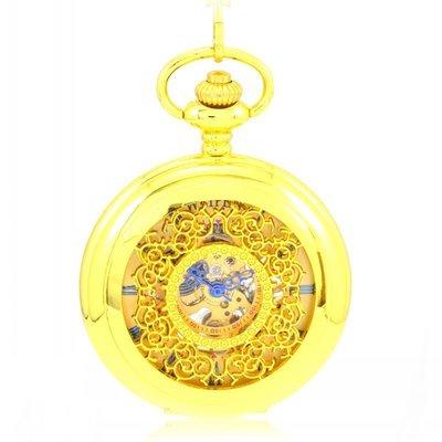 XL152土豪金碎花鏤空 復古懷表 機械懷表 男女士學生老人手表
