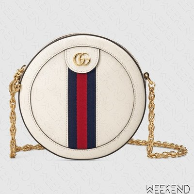 【WEEKEND】 GUCCI Ophidia Mini Round 皮革 圓形 圓餅包 鍊條 白色 550618