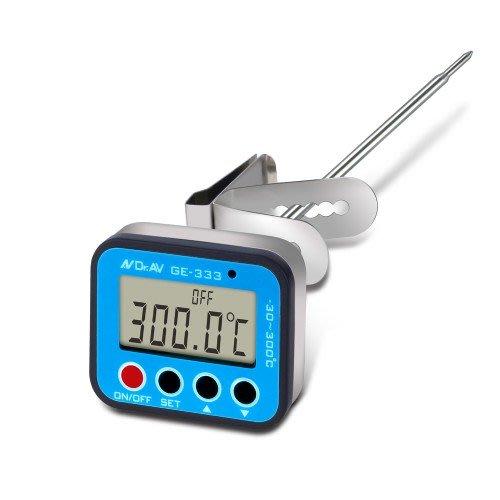 海神坊=GE-333 加長型智能溫控全防水溫度計 食物電子溫度計 數位液晶顯示 食物加熱油溫 溫度警示提醒 探針30cm