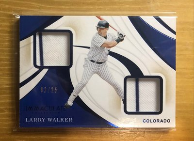 2020 IMMACULATE DUAL PATCH RELIC BLUE SSP LARRY WALKER 02/25