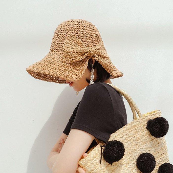 【小阿霏】夏季遮陽草帽 自留款 多色女孩休閒側開蝴蝶結氣質大檐草帽 可折疊帽子 夏日外出防曬帽AD32