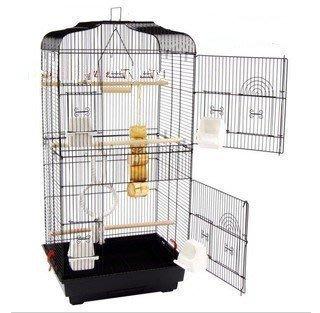 【優上精品】大號黑色平頂大鸚鵡籠 鳥籠 玄鳳籠 群鳥籠(配中隔網+玩具)鳥窩(Z-P3190)