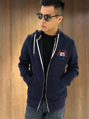 美國百分百【全新真品】Tommy Hilfiger 經典款 TH 棉質 連帽 外套 夾克 深藍 男 M號 I921