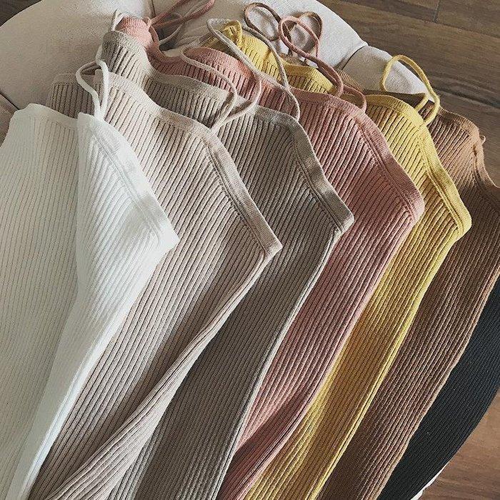 韓版吊帶背心女無袖針織女上衣外穿百搭顯瘦春裝款女#優品小鋪#