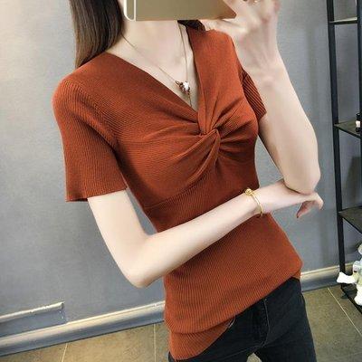 短袖針織衫 春裝0新款女裝韓版短袖t恤v領春夏季冰絲薄款打底衫上衣TA1862YJW