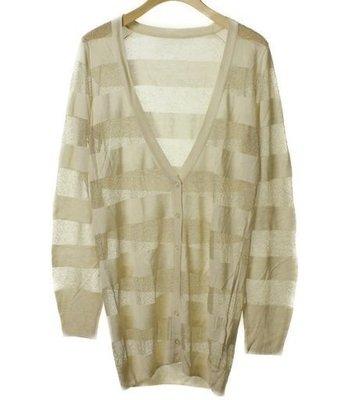 crolla 甜美女孩透膚針織條紋長版外套(NO.1183)