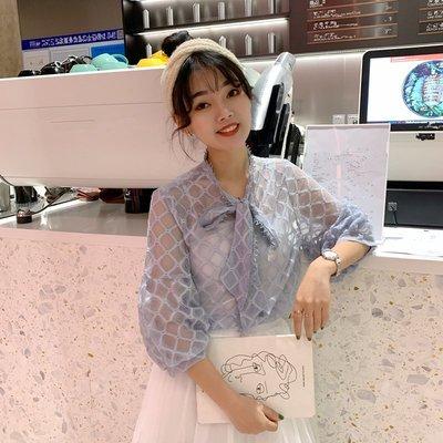 時尚新款韓版新款蕾絲泡泡中袖襯衫女2019春裝學院風學生甜美寬松百搭襯衣