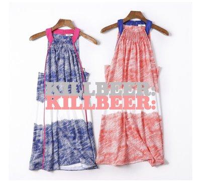 KillBeer:代購✈✈美國品牌FELICITY&COCO夏季艷彩設計款條紋撞色挖肩休閒連身裙洋裝060420