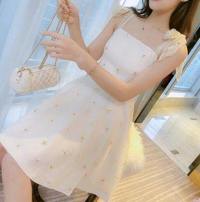 韓版洋裝 森系超仙網紗裙 chic吊帶裙子 小個子連身裙—莎芭