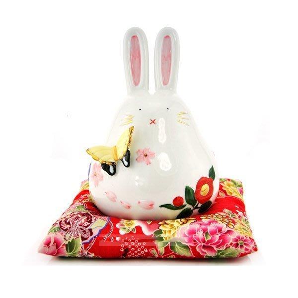 招財轉運蝴蝶兔子 陶瓷擺件居家擺設 開業招財禮品