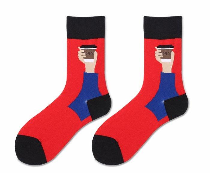 紅色詼諧中統襪  運動襪  襪子  中統襪  紅色  黑色  街頭潮襪  原宿風  女襪  藍色【小雜貨】