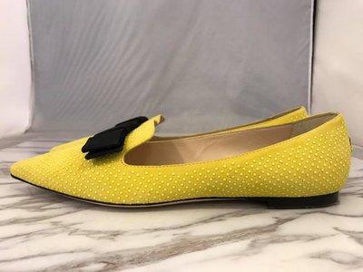 【RECOVER 名品二手】JIMMY CHOO 黃色麂皮黑蝴蝶結尖頭娃娃鞋. 100% 全新真品 . 168-7