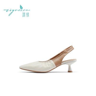 涼鞋蹀愫ts春季新款小方頭細跟涼鞋拼色時裝女涼鞋TA21108-15拖鞋