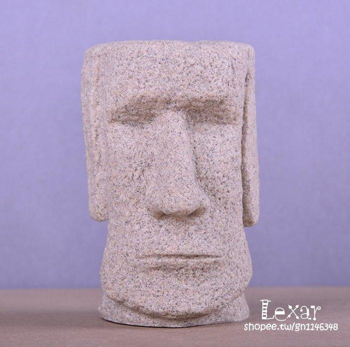 創意砂岩雕塑複活節島石像筆筒擺件書房裝飾擺設復活節島石像 摩艾石像筆筒