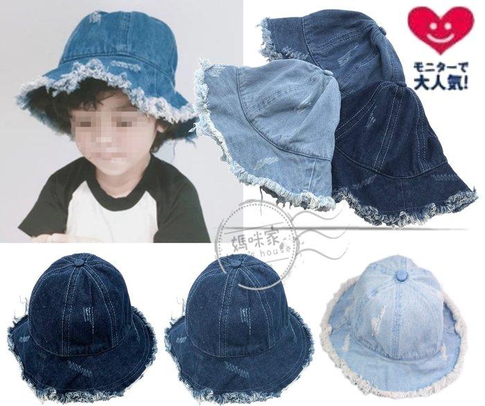 媽咪家【R116】R116刷破個性帽 刷白 軟綿 防曬 遮陽帽 嬉皮 嘻哈 鬚邊 寶寶帽 牛仔帽 適合頭圍54cm內
