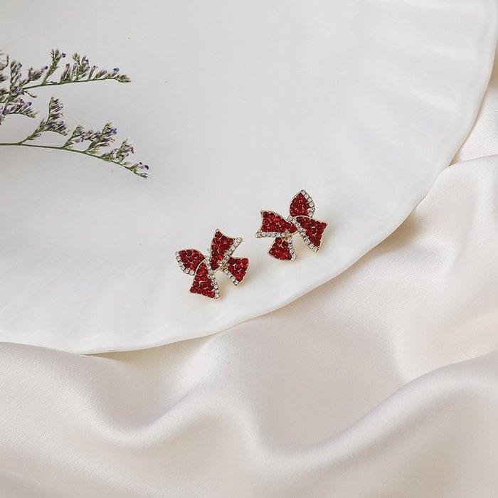 {菲兒韓國飾品} B5596 韓國直送(正韓)-氣質甜美紅色水鑽蝴蝶結耳環