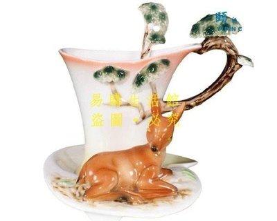 [王哥廠家直销]琺瑯瓷 14428840596 梅花鹿 立體陶瓷杯盤匙組 (一組) 花茶杯咖非杯下午茶貴婦LeGou_26