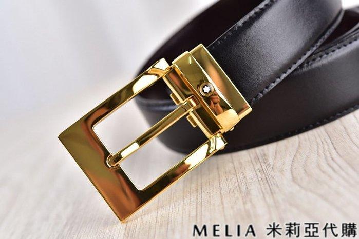 Melia 米莉亞代購 美國精品代購 Montblanc 萬寶龍 皮帶 腰帶 小方頭扣 金色 純鏡面打磨 包裝齊全
