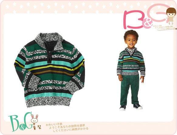 【B& G童裝】正品美國進口Gymboree Stripe Half Zip Sweater 綠色開領長袖毛衣12-18-24mos,2,4yrs