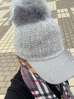 正韓商品 兔🐰毛球 毛線鴨舌帽 棒球帽