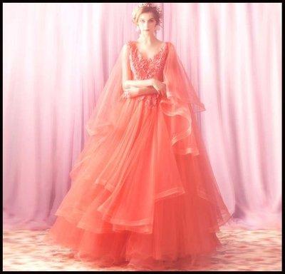 哆啦本鋪 天使嫁衣 波浪披紗 大氣場橙黃色新娘婚紗禮服敬酒服演出服D655