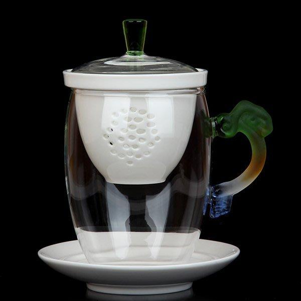 5Cgo【茗道】含稅會員有優惠 38757247409 建窯多彩琉璃把玻璃杯泡茶杯水杯花茶玻璃杯帶漏帶蓋辦辦公便攜式喝茶
