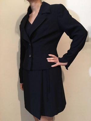 二手日本品牌深藍色長袖西裝外套加無袖交叉綁帶短洋裝 OL上班族必備 可面交