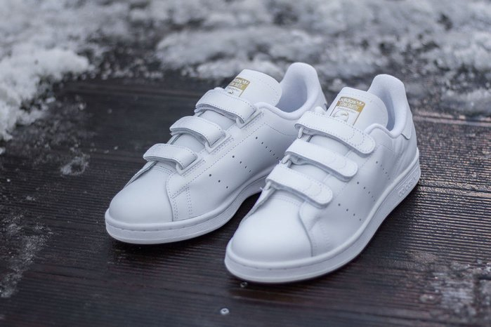 ☆AirRoom☆【現貨】Adidas  Stan Smith CF White 魔鬼氈 金標 白金 S75188 特價