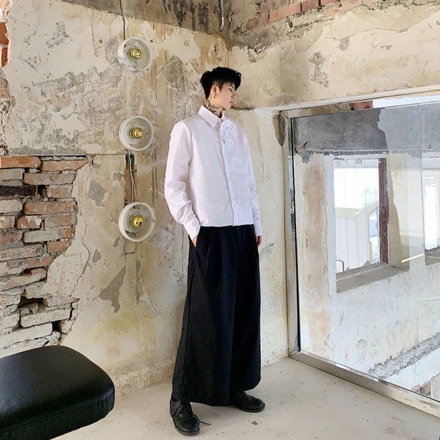 FINDSENSE 2019 秋季上新 G19 暗黑色白色純色花朵設計款簡約百搭襯衫素面襯衫 男裝 上衣