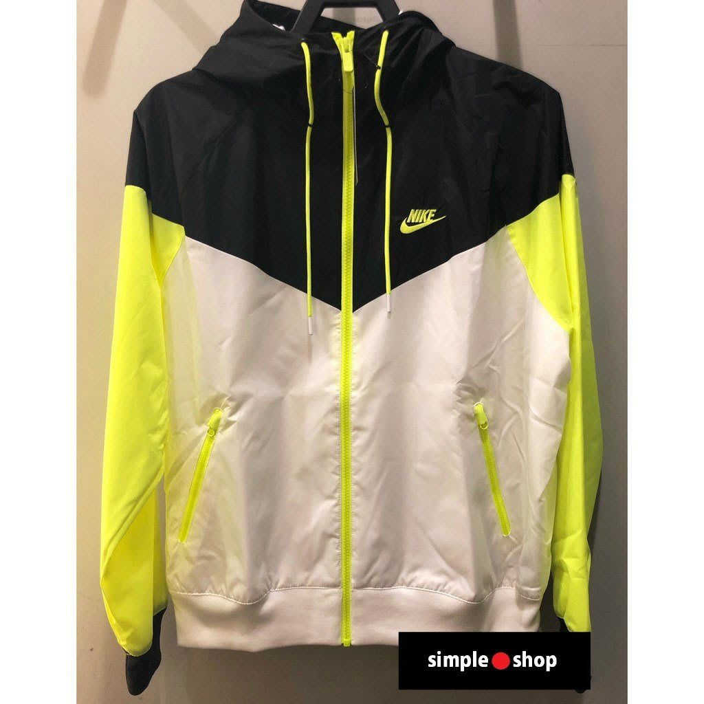 【Simple Shop】NIKE 刺繡 LOGO 防風 連帽外套 風衣 運動外套 黑 螢光綠 AR2192-103