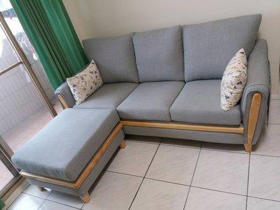 鴻宇傢俱~小星星涼感布實木腳L型布沙發~保証台灣製造-三人+腳凳~促銷優惠價~另有折扣價