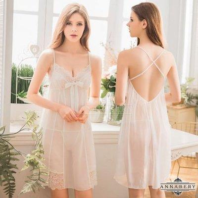 【Pretty Maid】大尺碼 Annabery 氣質白色雪紡交叉美背二件式睡衣 NY18020018