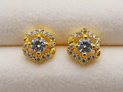 如玉坊珠寶  進口西德六角耳環  黃金耳環  AG&