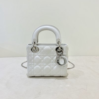 Christian Dior Lady Dior 黛妃包 Mini 白色《精品女王全新&二手》