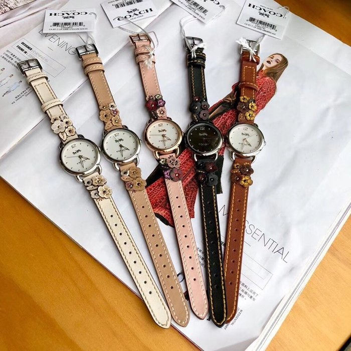 NaNa代購 COACH 14502761 山茶花花卉手錶 超美 氣質時尚 附購證 買即送禮