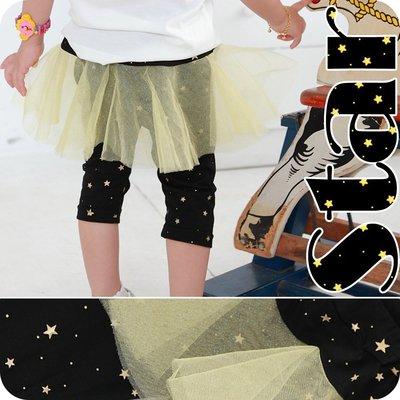 ○。° 彩色泡泡 °。○ 童裝【貨號Q7323】夏。黃紗裙黑色星星褲裙