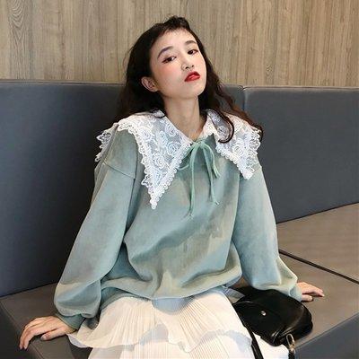 帽T 連帽T恤 寬鬆 圓領 休閒外套秋冬女裝韓版寬松花邊蕾絲領絲絨加絨加厚套頭衛衣上衣外套潮