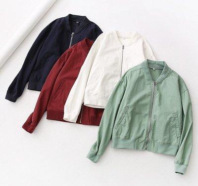 【An Ju Shop】日本訂單 百搭純色螺紋邊立領拉鍊棒球服短外套夾克~S5H266132