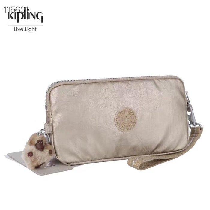Kipling 猴子包 金屬金 K70109 拉鍊手掛包 零錢包 長夾 手拿包 鈔票/零錢/卡包 輕便多夾層 防水 限量